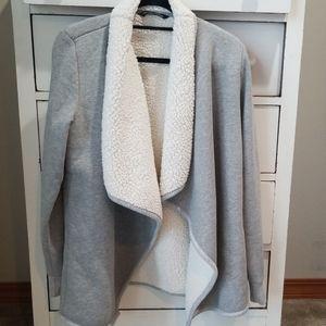 Sherpa lined drape front sweater